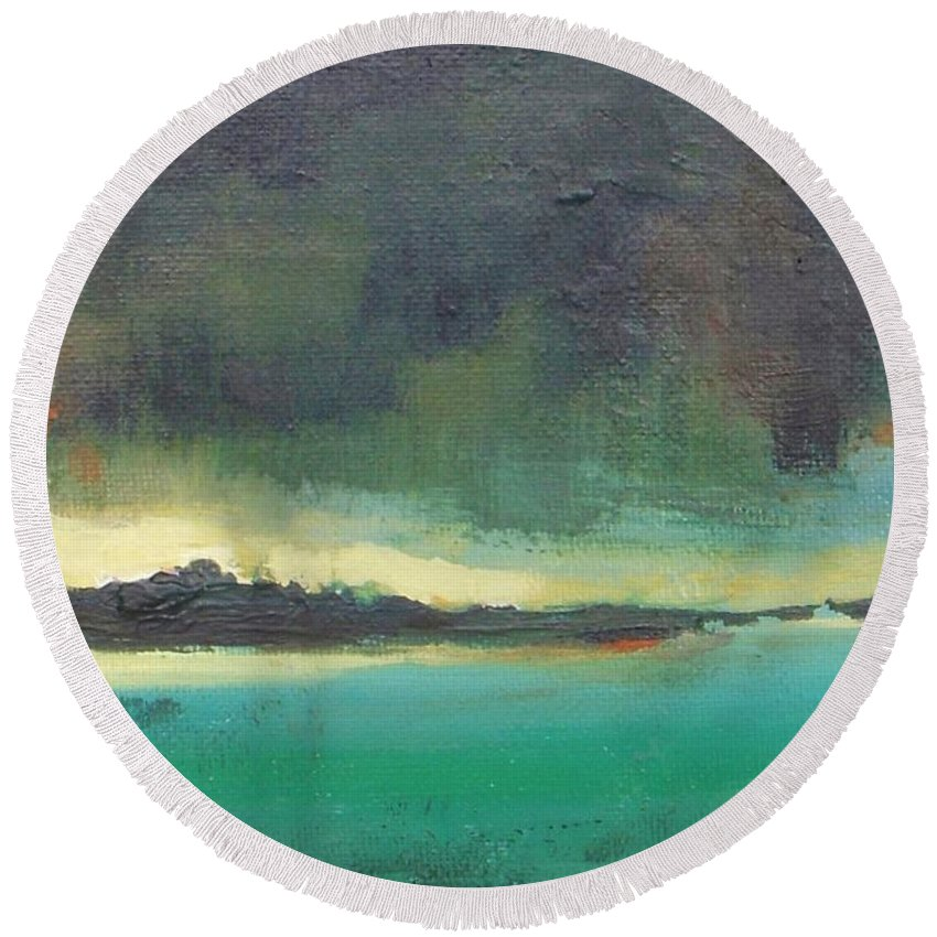 Landscape Round Beach Towel featuring the painting Sunset On Blue Danube by Vesna Antic