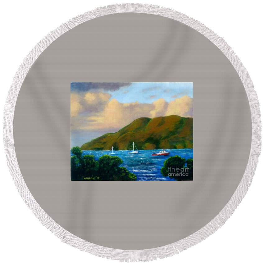Sunset Round Beach Towel featuring the painting Sunset On Cruz Bay by Laurie Morgan
