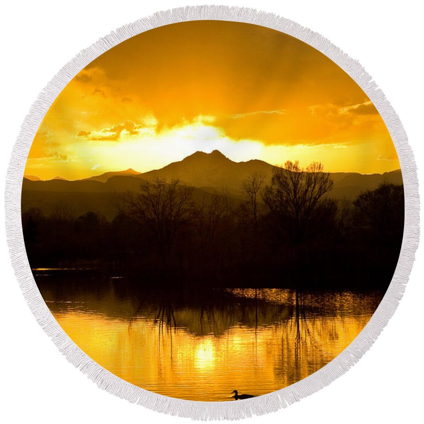 Sunset Round Beach Towel featuring the photograph Sunset On Golden Ponds by James BO Insogna
