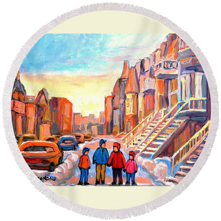 Sunset On Hotel De Ville Montreal Round Beach Towel featuring the painting Sunset On Hotel De Ville Street Montreal by Carole Spandau
