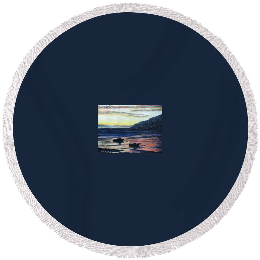 Maine Round Beach Towel featuring the painting Sunset On Maine Coast by Richard Nowak
