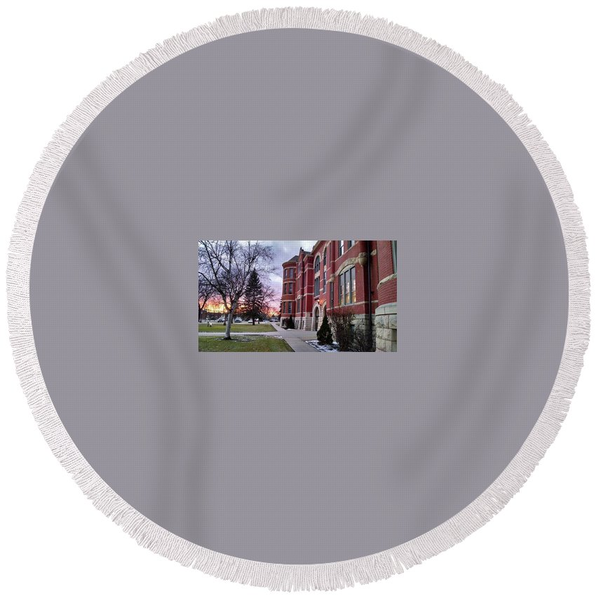 Sunsets Round Beach Towel featuring the photograph Sunset On Old Main by Rick Karboviak
