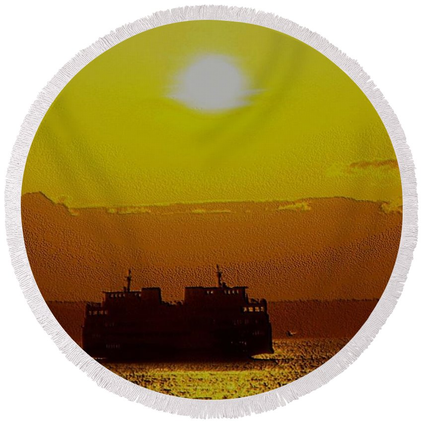 Seattle Round Beach Towel featuring the photograph Sunset On Puget Sound by Tim Allen