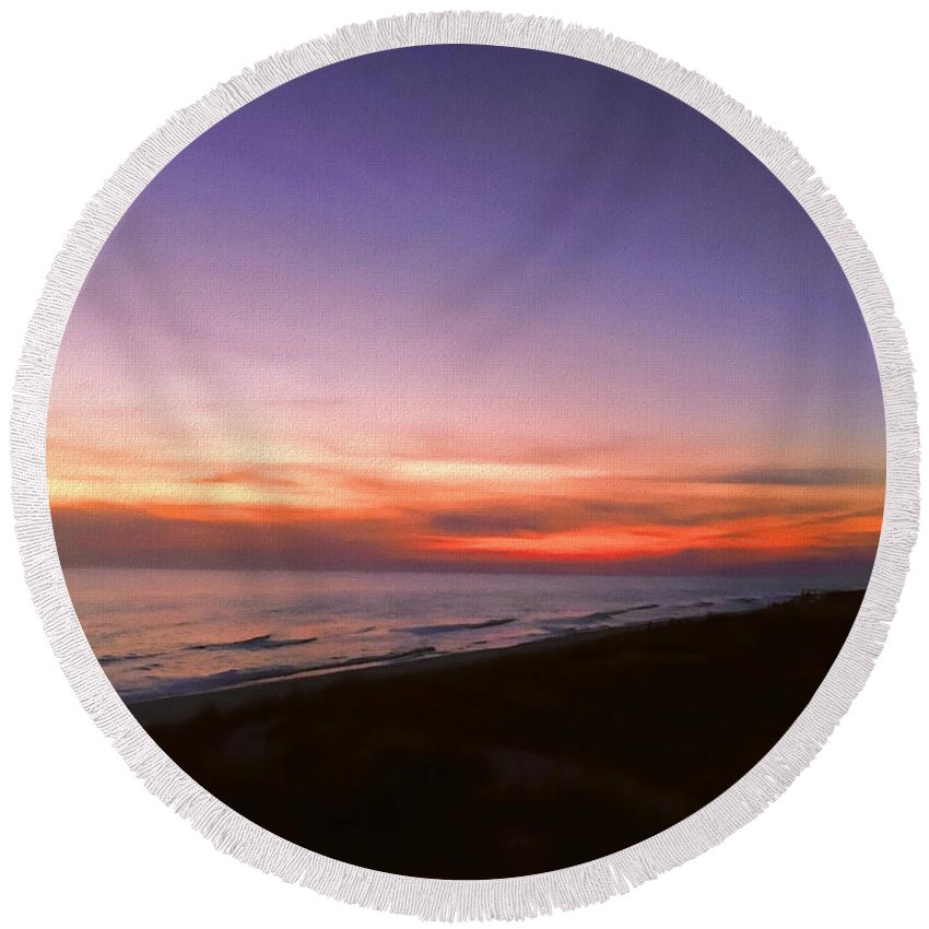 Sunset Round Beach Towel featuring the photograph Sunset On The Beach At Cape San Blas, Florida by WildBird Photographs