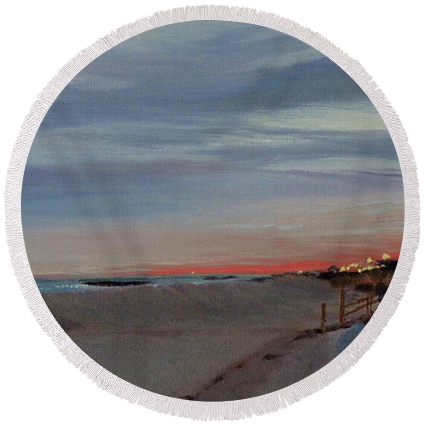 Sunset Round Beach Towel featuring the painting Sunset on the Boardwalk by Lea Novak
