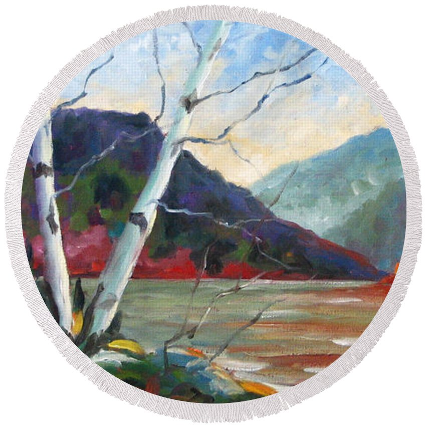 Landscape; Landscapes/scenic; Birches;sun;lake;pranke Round Beach Towel featuring the painting Sunset On The Lake by Richard T Pranke