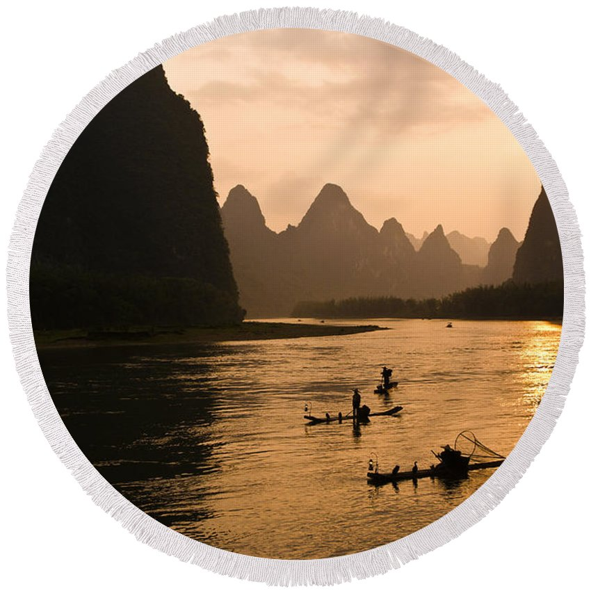 Asia Round Beach Towel featuring the photograph Sunset on the Li River by Michele Burgess