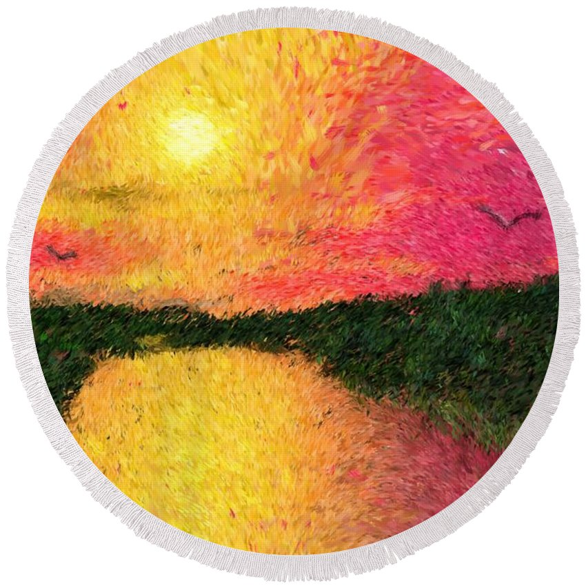 Digital Art Round Beach Towel featuring the digital art Sunset On The River by David Lane