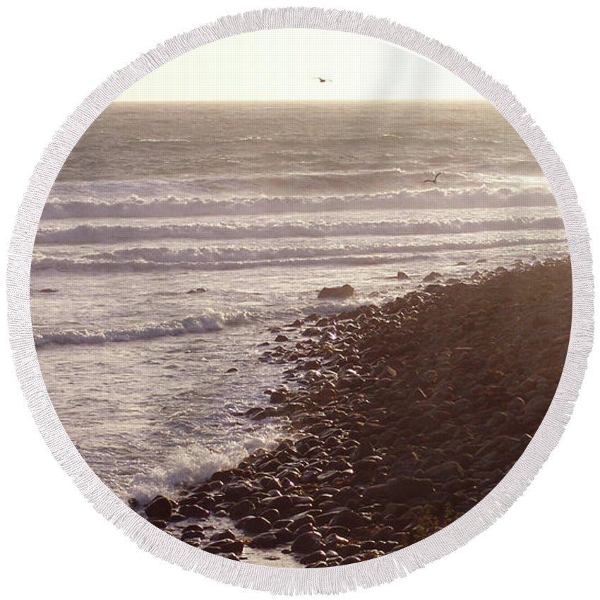 Southern California Round Beach Towel featuring the photograph Sunset On The Rocks by Jess Aixela