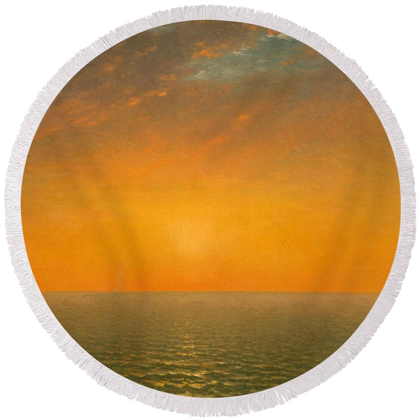 John Frederick Kensett Round Beach Towel featuring the painting Sunset On The Sea by John Frederick Kensett