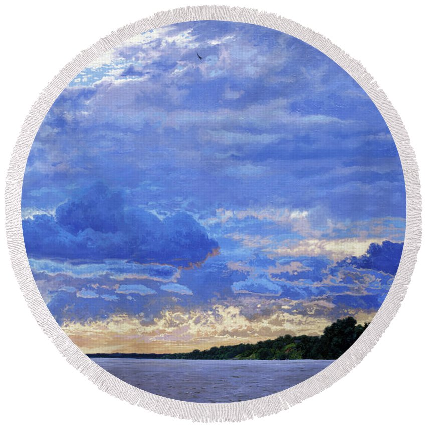 Landscapes Round Beach Towel featuring the painting Sunset On The Volga. Gorodets by Simon Kozhin