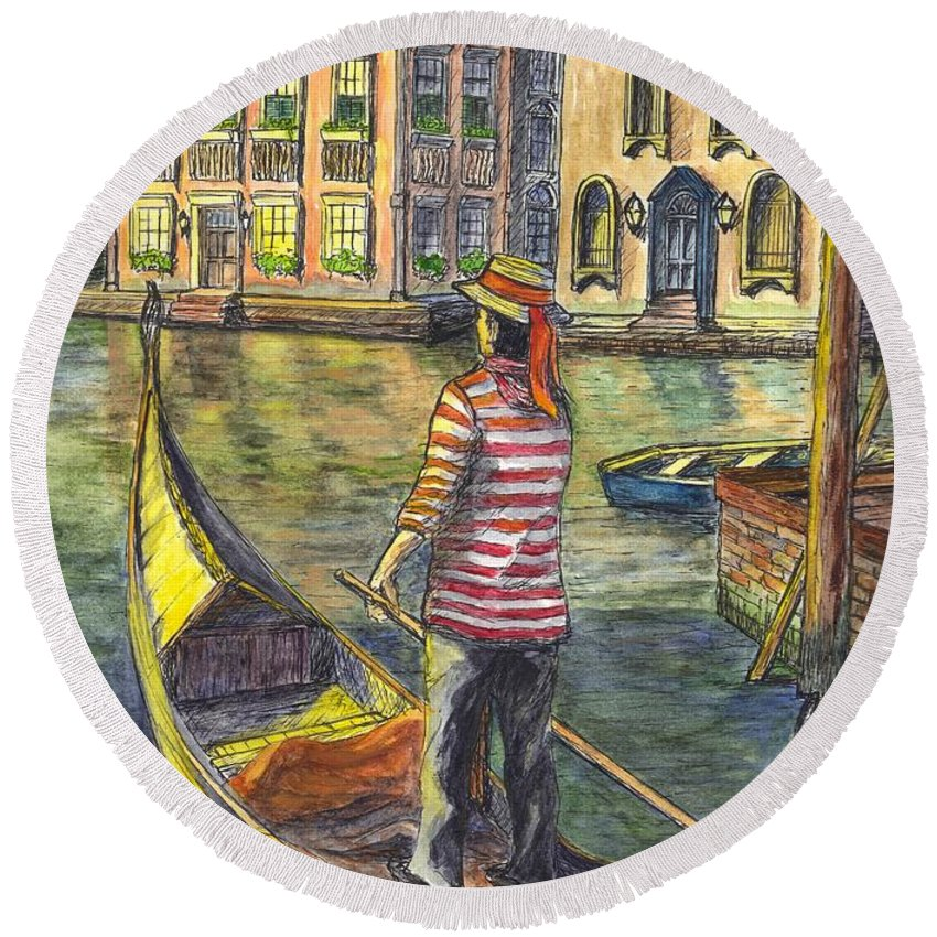 Gondolier Round Beach Towel featuring the painting Sunset On Venice - The Gondolier by Carol Wisniewski