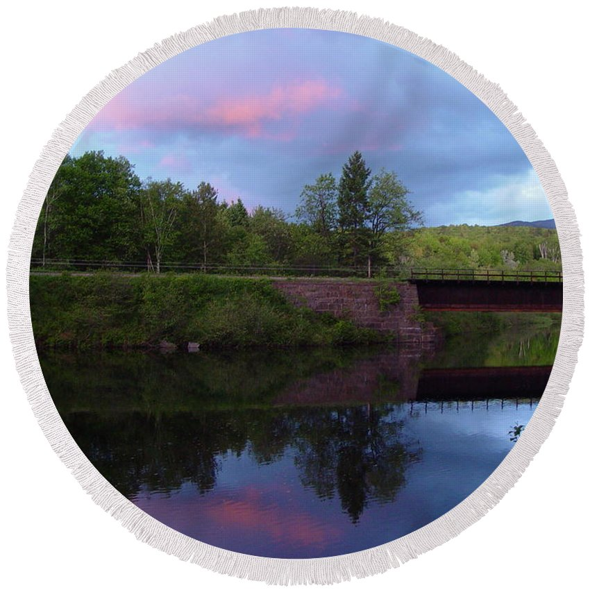 Sunset Round Beach Towel featuring the photograph Sunset Over Amoonoosuc River by Dorothea Abbott