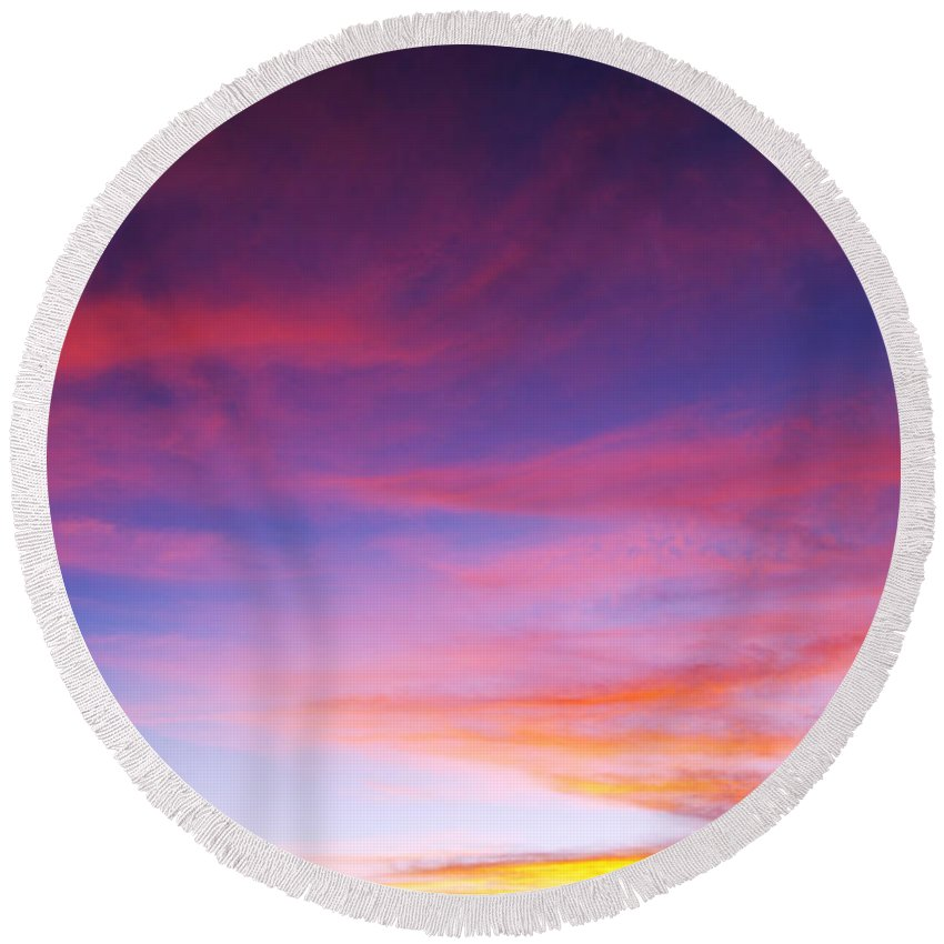 Sunset Round Beach Towel featuring the photograph Sunset Over Desert by Jill Reger