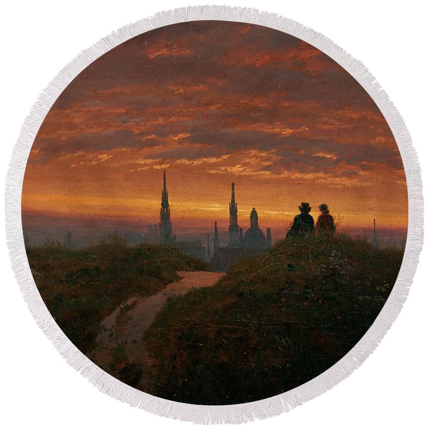 Carl Gustav Carus Round Beach Towel featuring the painting Sunset Over Dresden by Carl Gustav Carus