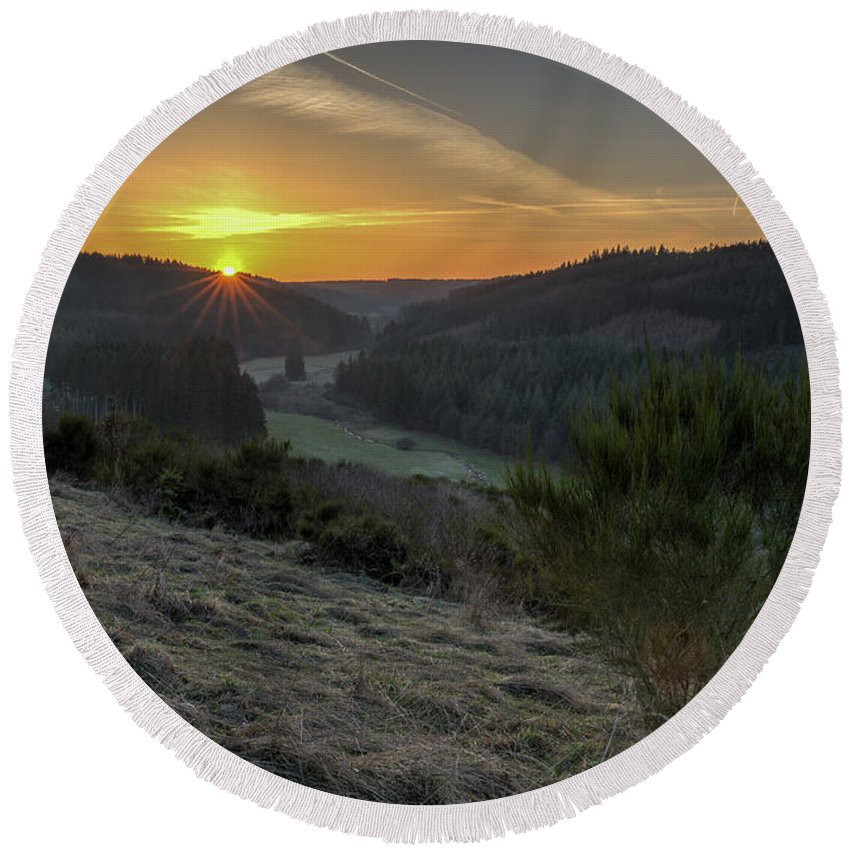 Cloud Round Beach Towel featuring the photograph Sunset Over Forest by Manuel Posch