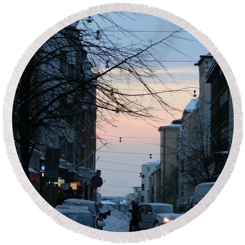 Helsinki Round Beach Towel featuring the photograph Sunset Over Helsinki by Margaret Brooks