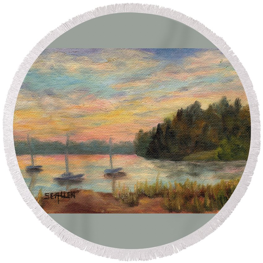 Sunset Round Beach Towel featuring the painting Sunset Over Massabessic by Sharon E Allen