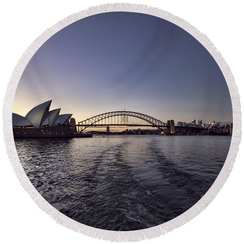 Sunset Round Beach Towel featuring the photograph Sunset Over Sydney Harbor Bridge And Sydney Opera House by Douglas Barnard