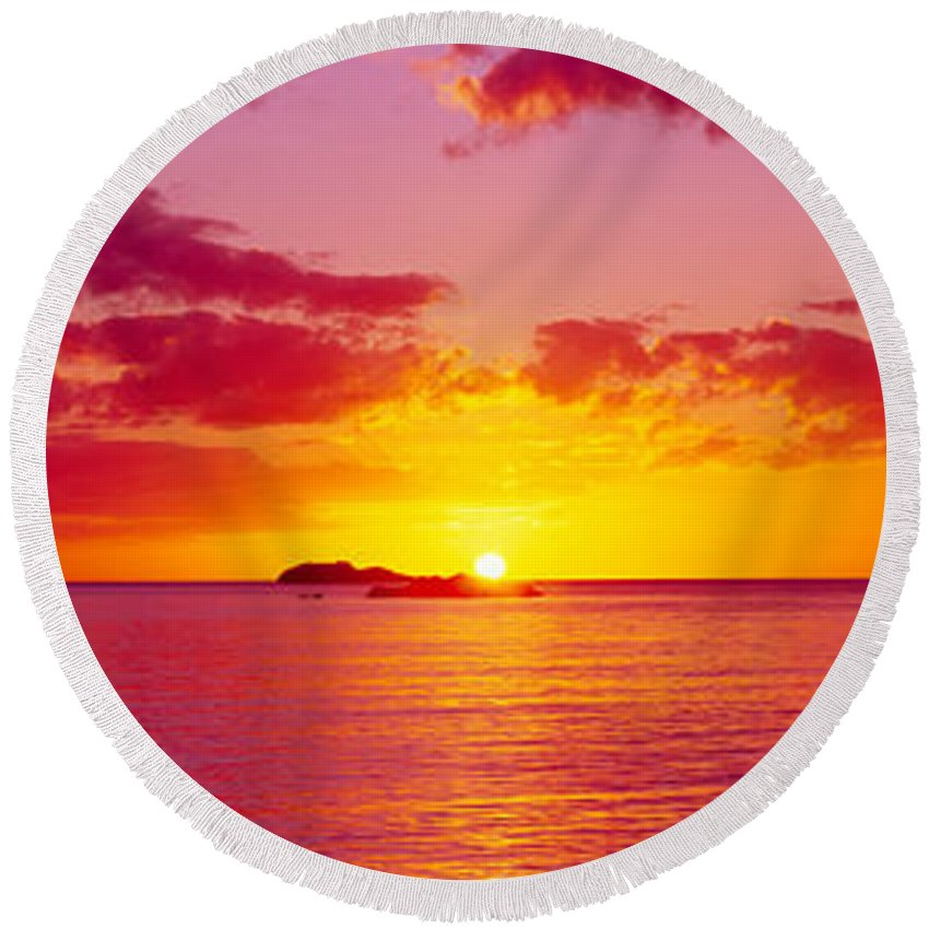 Photography Round Beach Towel featuring the photograph Sunset Over The, Atlantic Ocean, Cat by Panoramic Images