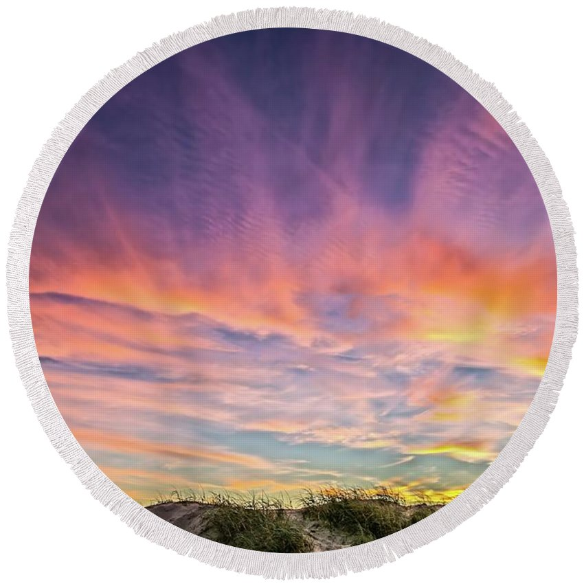 Oceano Round Beach Towel featuring the photograph Sunset Over The Dunes by Vivian Krug Cotton