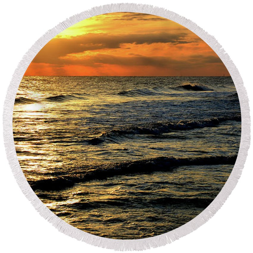 Seascape Round Beach Towel featuring the digital art Sunset Over The Gulf by Janet Duffey