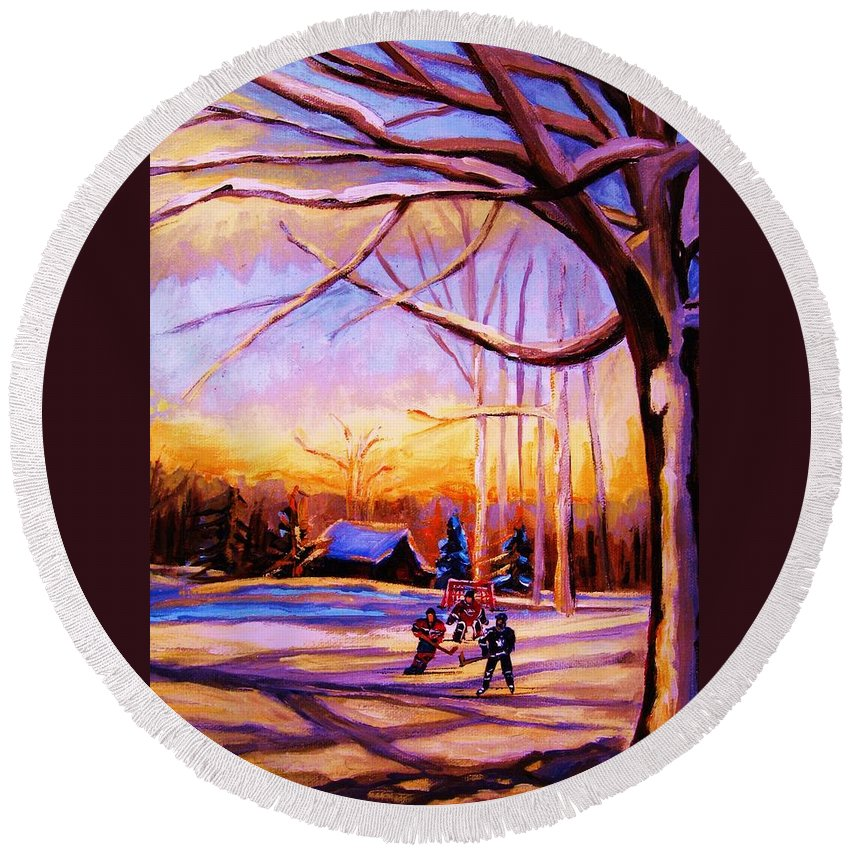 Sunset Over Hockey Round Beach Towel featuring the painting Sunset Over The Hockey Game by Carole Spandau
