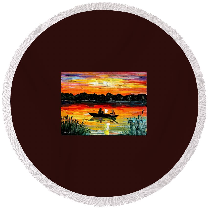 Boat Round Beach Towel featuring the painting Sunset Over The Lake by Leonid Afremov
