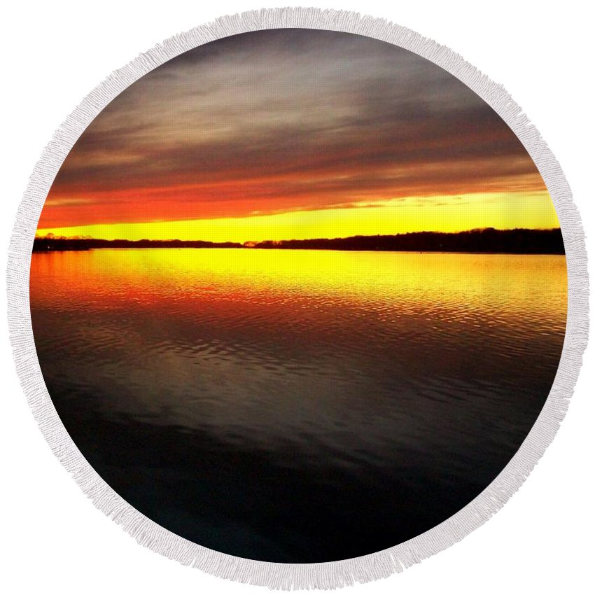 Gold Round Beach Towel featuring the photograph Sunset Over The Lake by Michelle Calkins