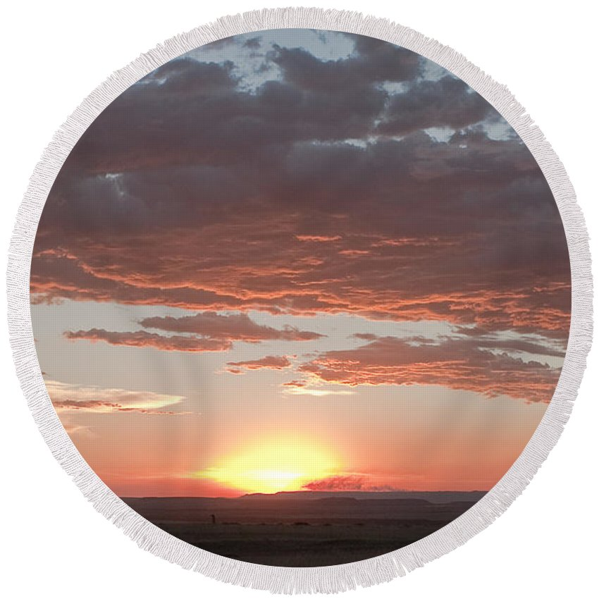 Africa Round Beach Towel featuring the photograph Sunset Over The Mara by Colette Panaioti