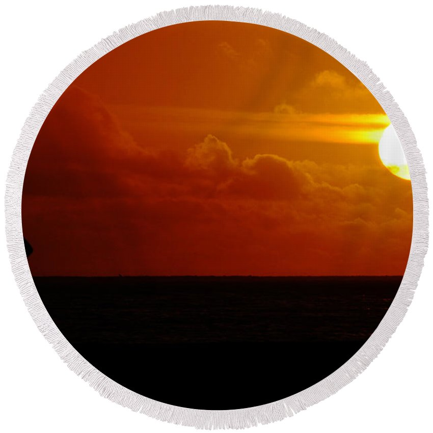 Clay Round Beach Towel featuring the photograph Sunset Over The Pacific by Clayton Bruster