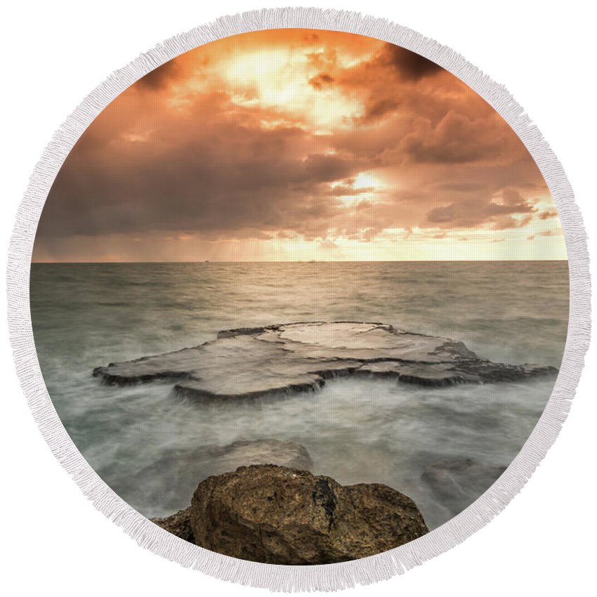 Sunset Round Beach Towel featuring the photograph Sunset Over The Sea In Israel by Yatir Nitzany
