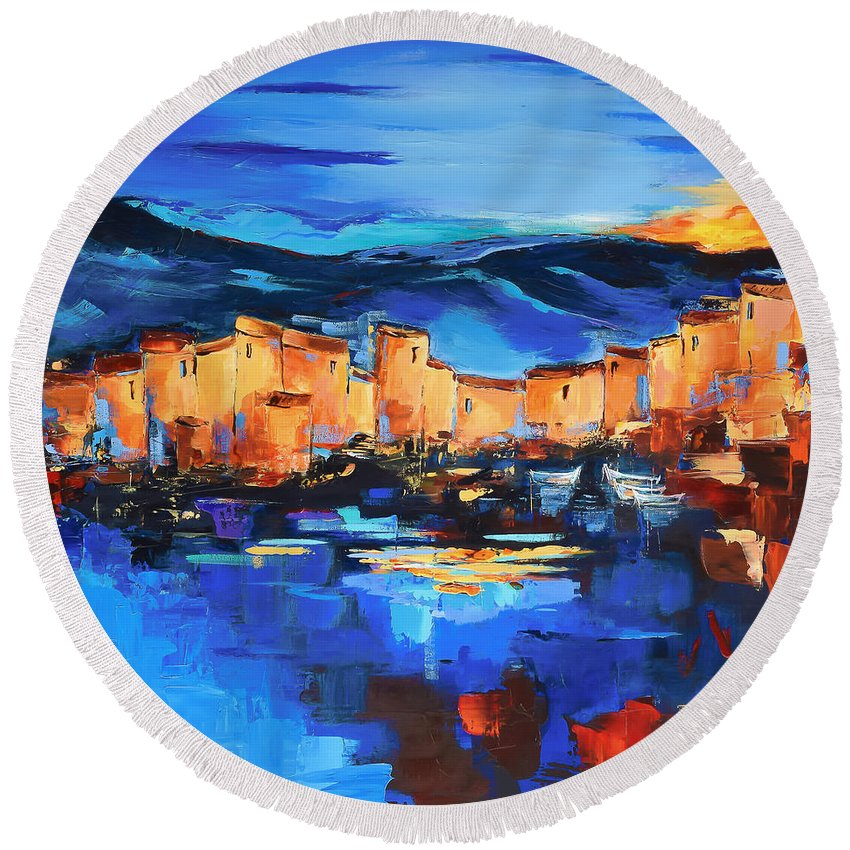 Sunset Over The Village Round Beach Towel featuring the painting Sunset Over The Village 2 By Elise Palmigiani by Elise Palmigiani