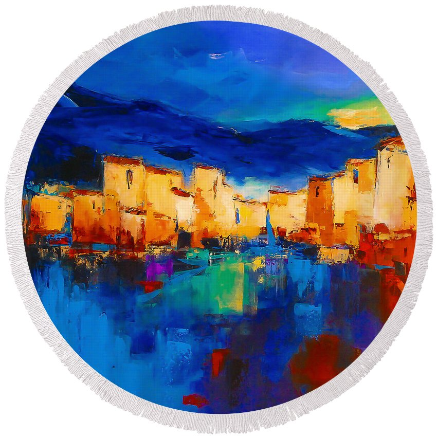 Cinque Terre Round Beach Towel featuring the painting Sunset Over The Village by Elise Palmigiani