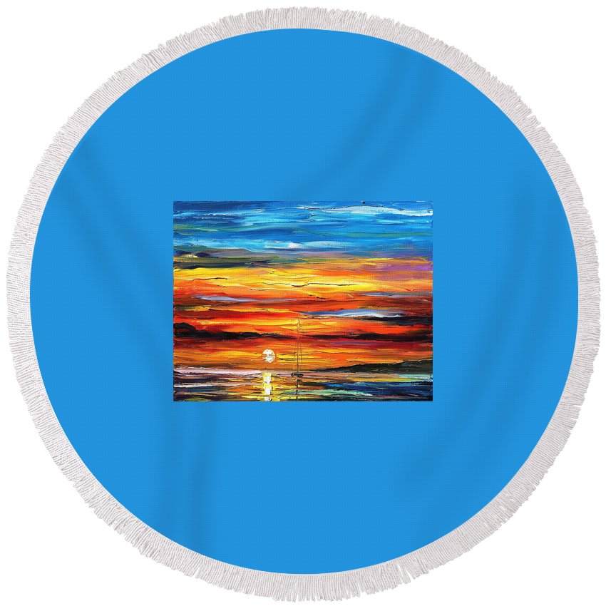 Art Gallery Round Beach Towel featuring the painting Sunset - Palette Knife Oil Painting On Canvas By Leonid Afremov by Leonid Afremov