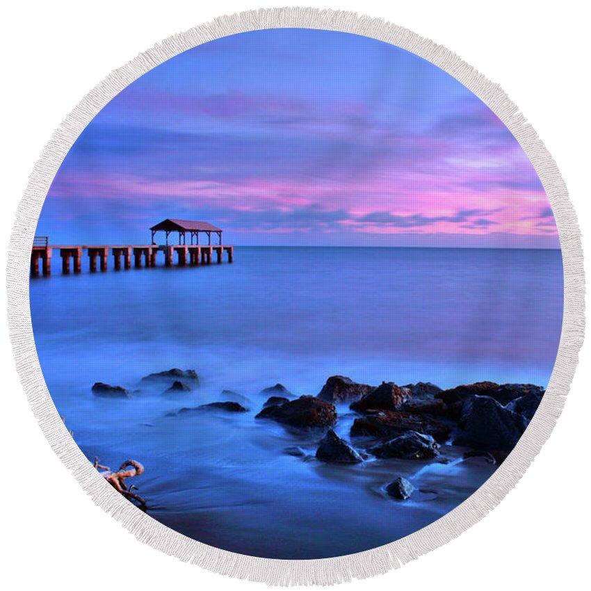 Pier Round Beach Towel featuring the photograph Sunset Pier by Scott Mahon