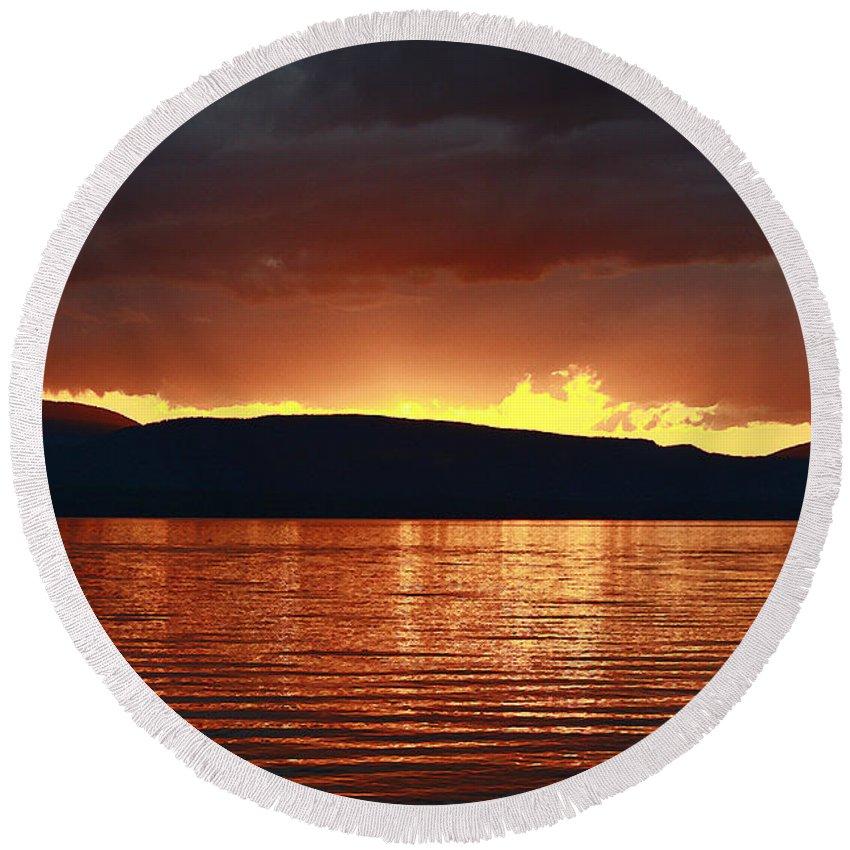 Lake Round Beach Towel featuring the photograph Sunset Red by Deborah Benoit