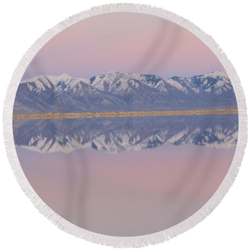 Nature Round Beach Towel featuring the photograph Sunset Reflections 3 by Tonya Hance