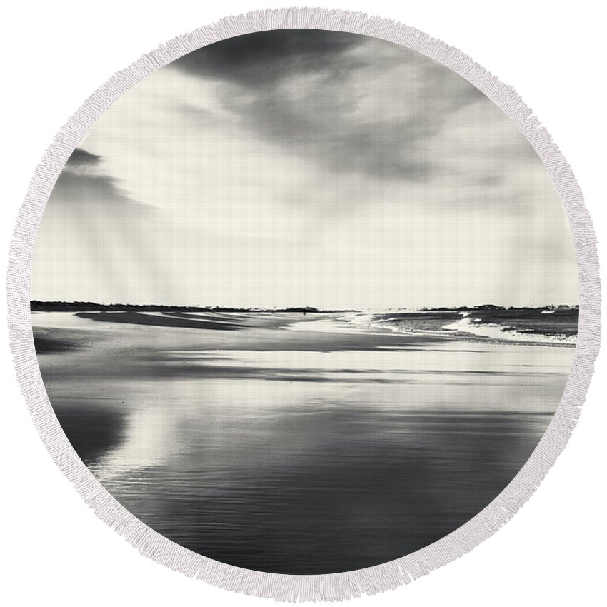 Landscape Round Beach Towel featuring the photograph Sunset Reflections by Timothy Gent