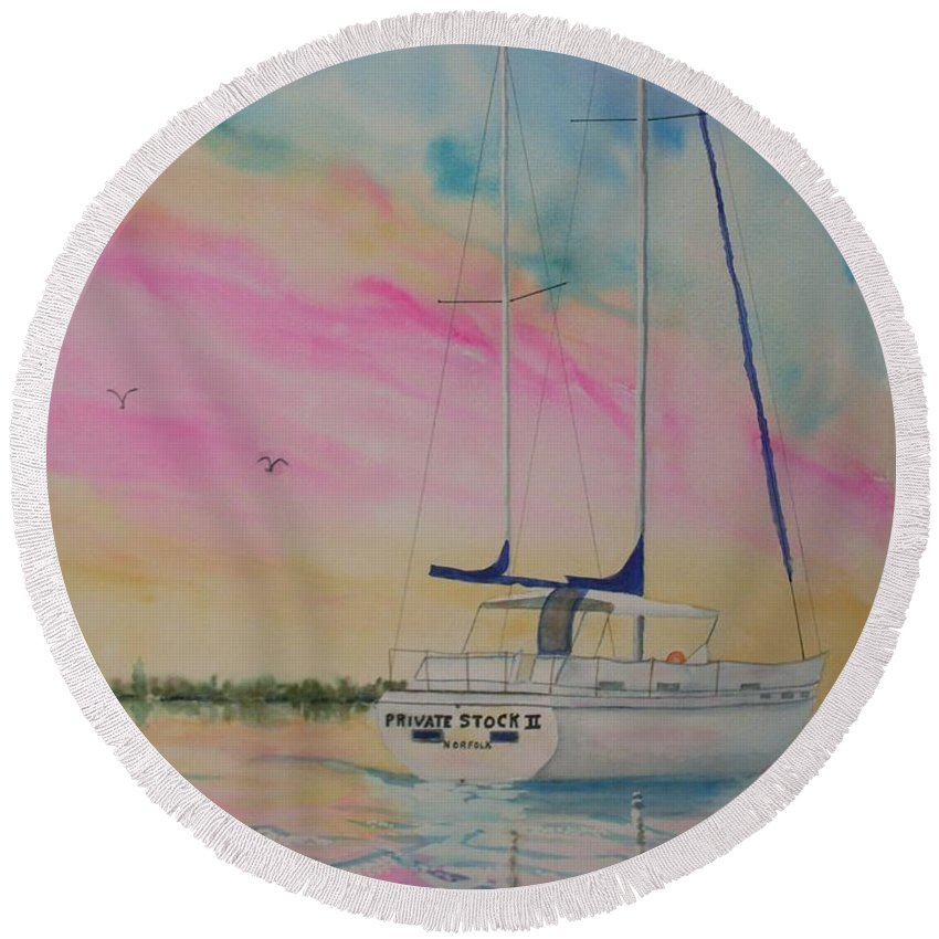 Sunset Sail 3 Round Beach Towel featuring the painting Sunset Sail 3 by Warren Thompson