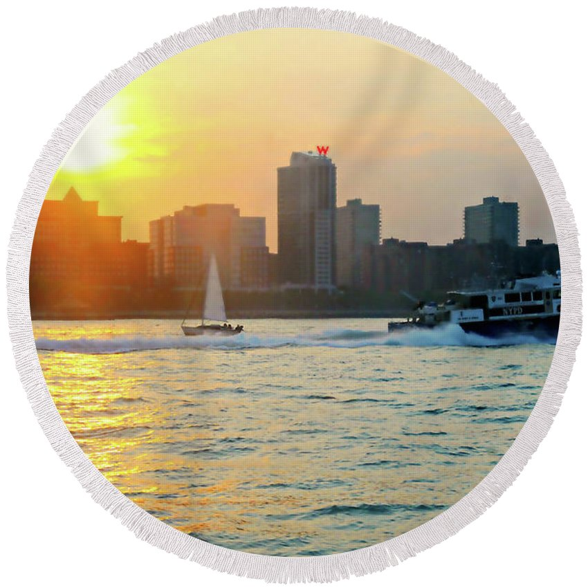 New York City Round Beach Towel featuring the photograph Sunset Sail by Diana Angstadt