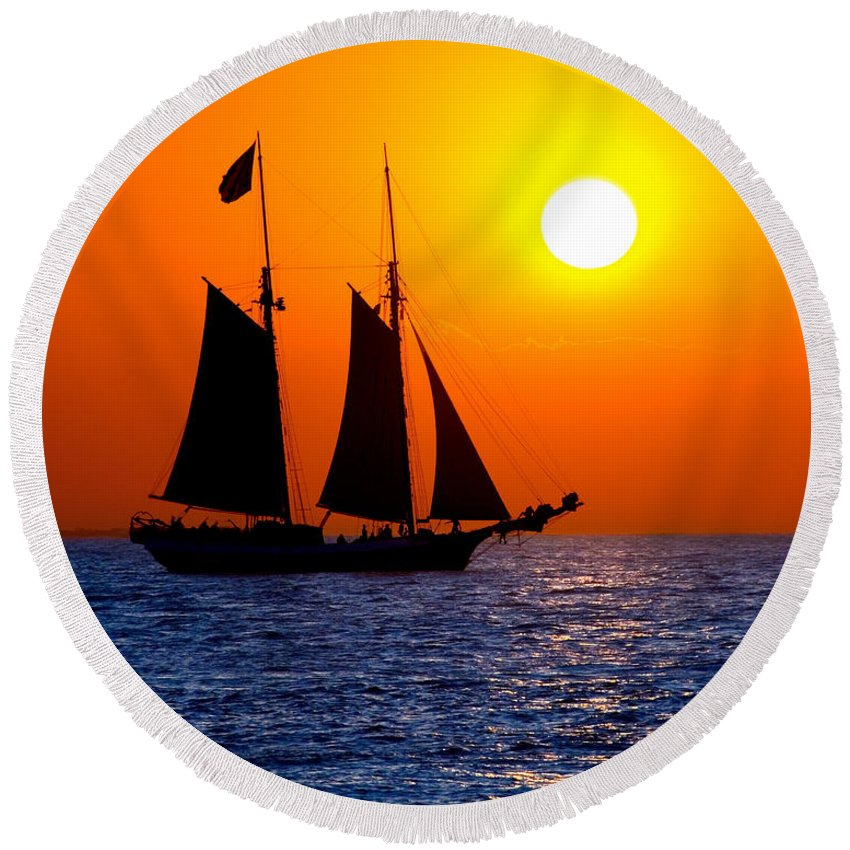 Yellow Round Beach Towel featuring the photograph Sunset Sailing In Key West Florida by Michael Bessler
