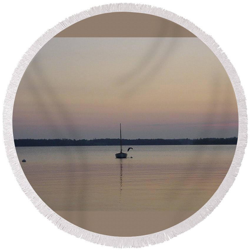 Maine Round Beach Towel featuring the photograph Sunset Sailing by Kelly Mezzapelle