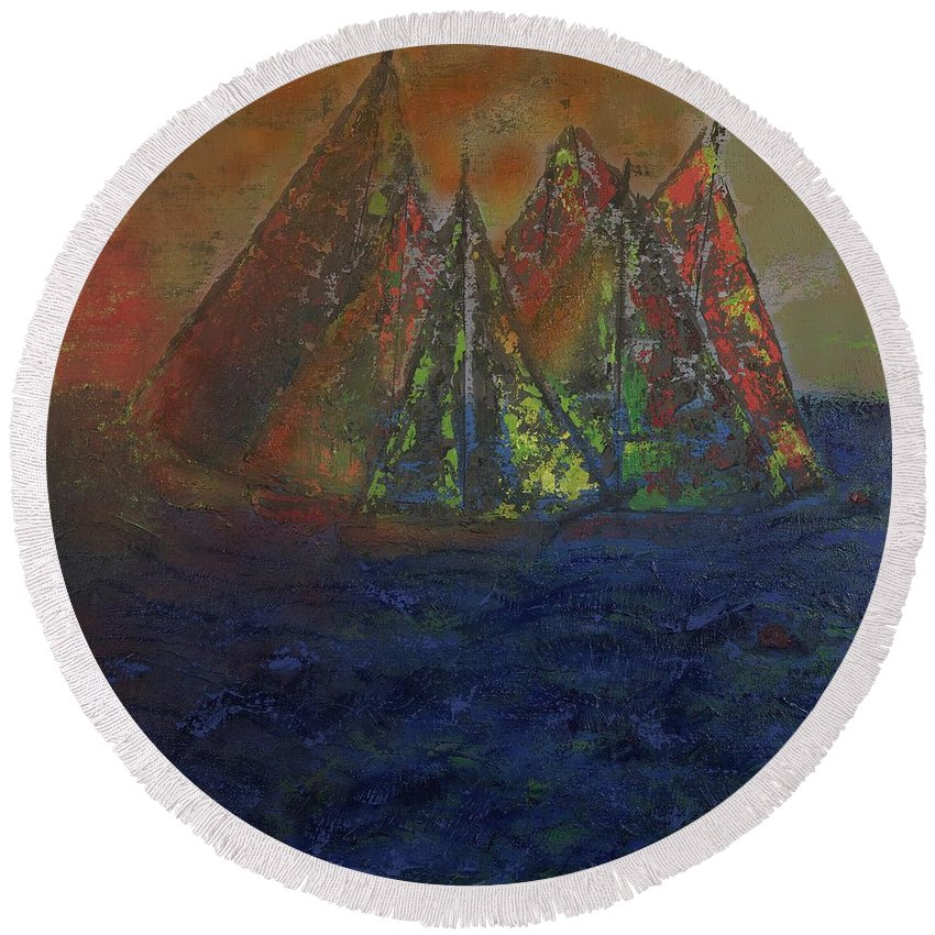 Blue Water Round Beach Towel featuring the painting Sunset Seduction by Richard W Dillon