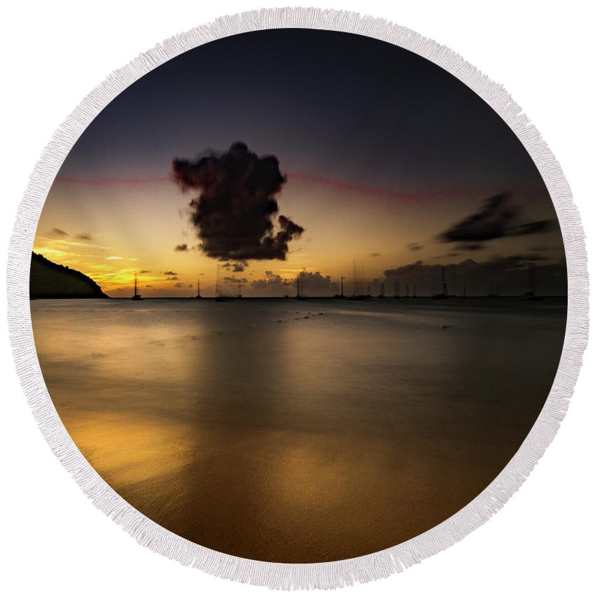 Tim Photos Round Beach Towel featuring the photograph Sunset Shadows by Timothy Needham