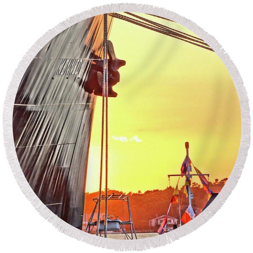 Seascape. Kennedy Round Beach Towel featuring the digital art Sunset Ship by Wayne Wescott
