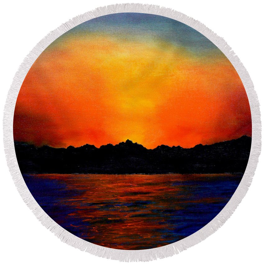 Sinai Sunset Round Beach Towel featuring the painting Sunset Sinai by Helmut Rottler