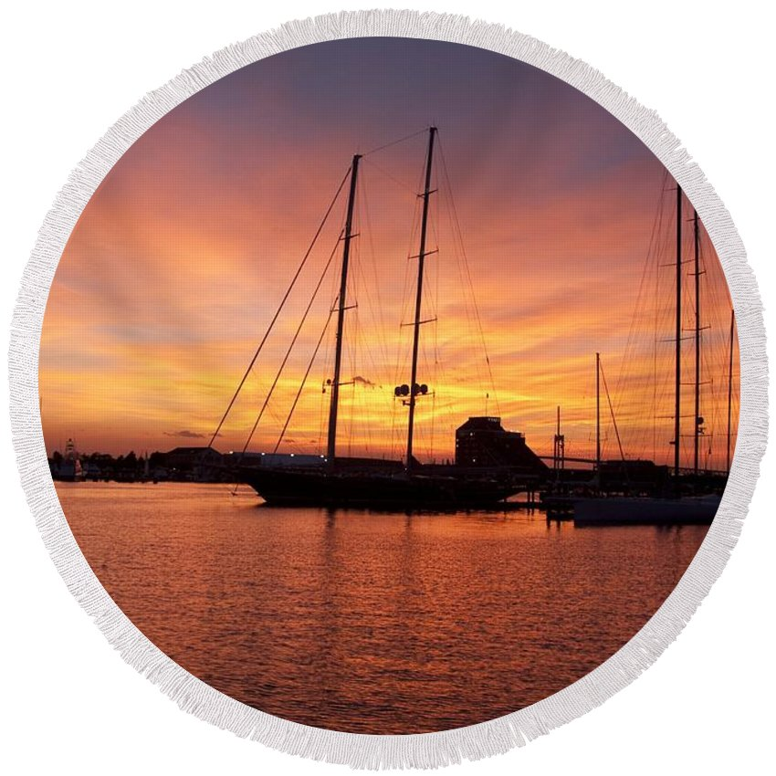 Sunset Round Beach Towel featuring the photograph Sunset Tall Ships by Steven Natanson