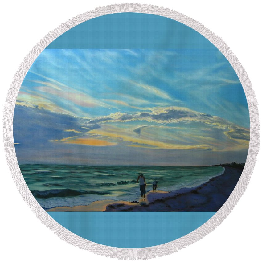 Seascape Round Beach Towel featuring the painting Sunset Treasure Hunt by Lea Novak