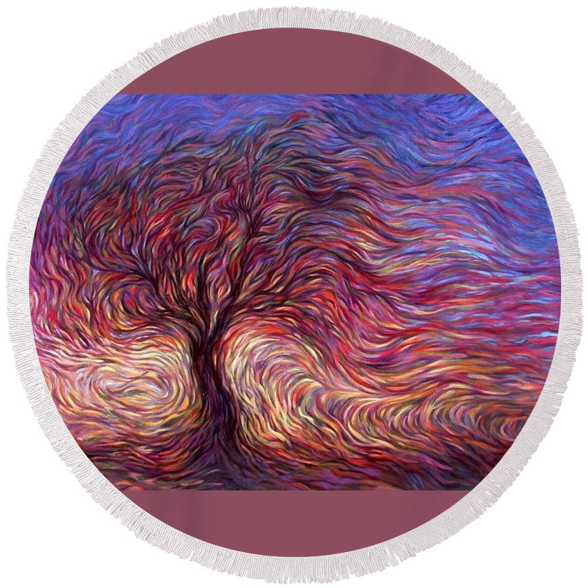 Tree Round Beach Towel featuring the painting Sunset Tree by Hans Droog